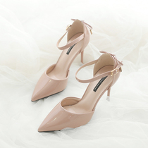 2020 spring new word with nude color high heels small CK Fairy Wind small fresh fine with pointed lady shoes