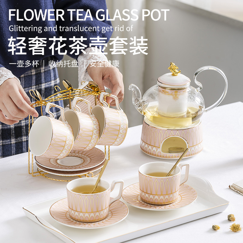 British light luxury afternoon tea set set flower tea set home ceramic fruit glass flower teapot candle heating