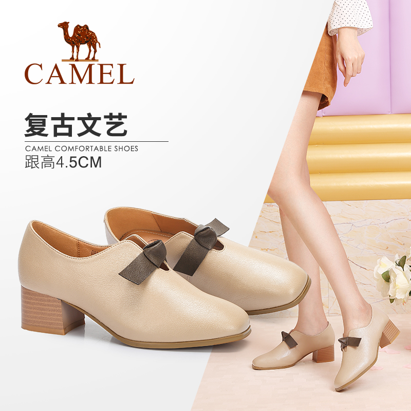 Camel women's shoes 2018 autumn new fashion British bow retro square head with thick with wild single shoes women
