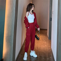 Sandro Moscoloni leisure sports suit women autumn fried street Net Red Age red dress two sets