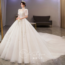 High-end main wedding dress 2021 new bride temperament big tailing luxury heavy industry senior sense Palace wind covering thick arm