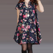The new spring and summer 2015 Korean large loose code V collar Vintage Floral irregular hem dress female