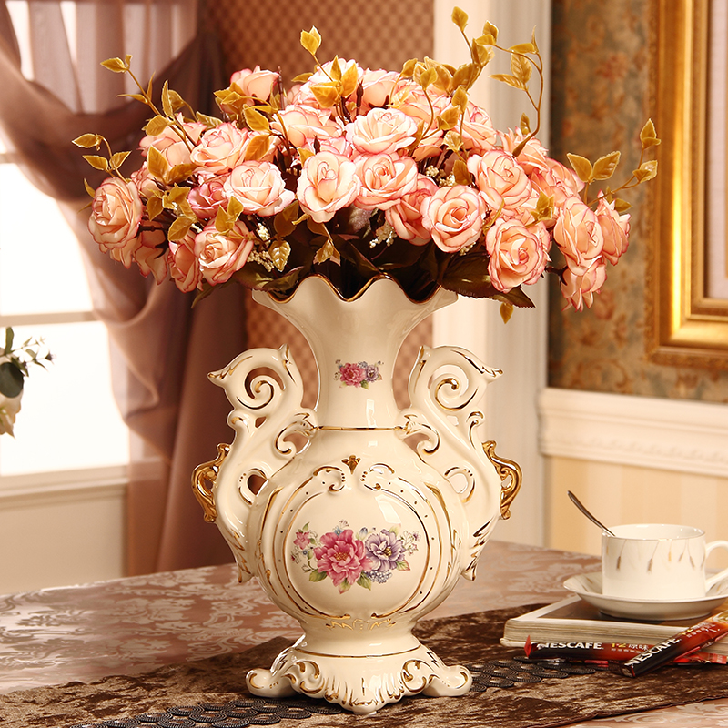 European Luxury Ceramic Vase Arrangement Living Room Flower Arrangement Home Accessories Porcelain Decoration Flower Arrangement Wedding Gift