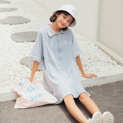 The new summer Korean girl wind by age Polo collar lotus leaf hem letter printing college Wind dress