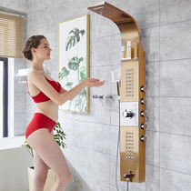 Thermostatic intelligent bathroom stainless steel shower shower set full copper shower shower waterfall back spray shower screen