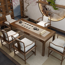 Solid wood tea table 1 m 8 Household tea table New Chinese kung fu Zen modern simple tea table and chair combination