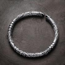s999 старинный серебряный браслет мужской мастер Будды с краном винтажное отверстие чтобы сделать старый серебряный браслет для друга День святого Валентина подарок
