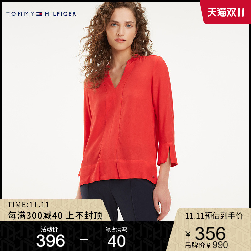 TOMMY HILFIGER womens spring and autumn fashion trend three-dimensional cut V-neck long-sleeved shirt WW0W24638
