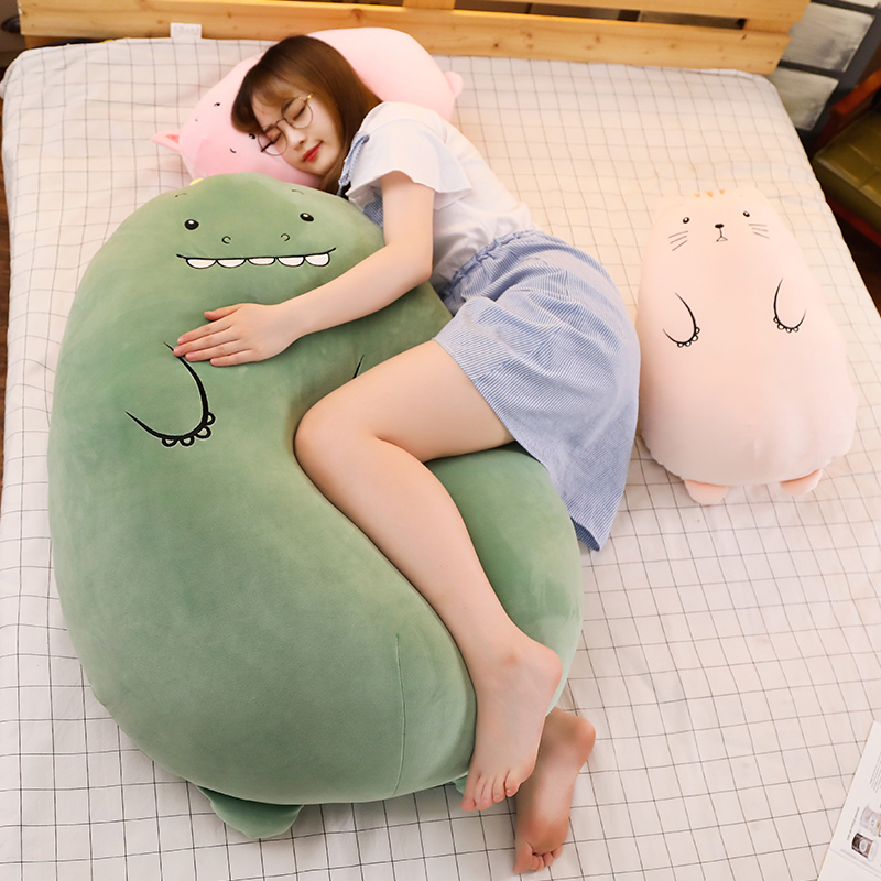 Dinosaur Plush toys, cute pig dolls send girls to bed with sleeping dolls, long pillows, cushion, doll.