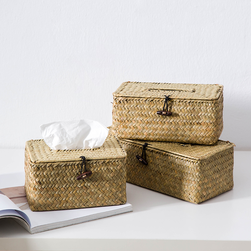 Modern Simple Creative Straw-woven Paper Towel Box Desktop Arrangement