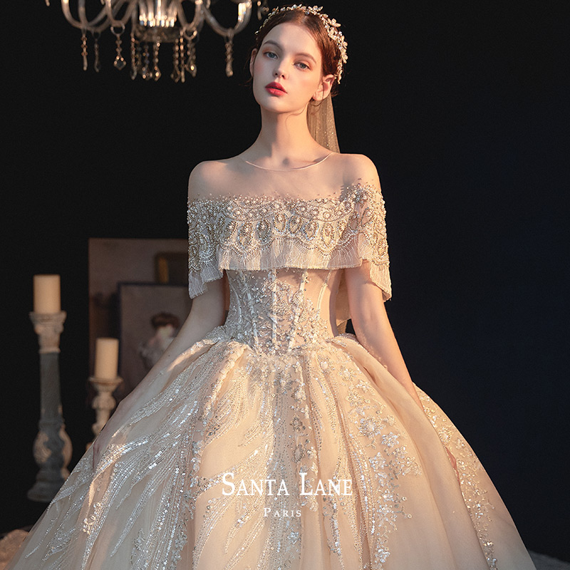 Wedding dress 2020 new bride luxurious luxury fairy dream visionary thin shake voice net red the same star sky long tail
