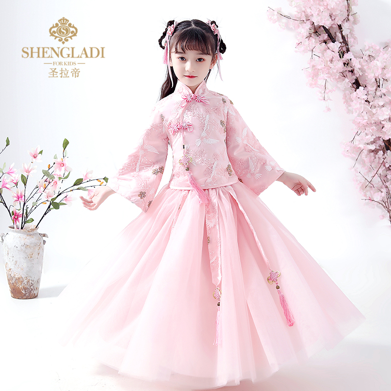 Hanfu girls' autumn and spring clothing children's Tang clothing Chinese ancient clothing super immortal long sleeve thickening warm new year clothing spring clothing
