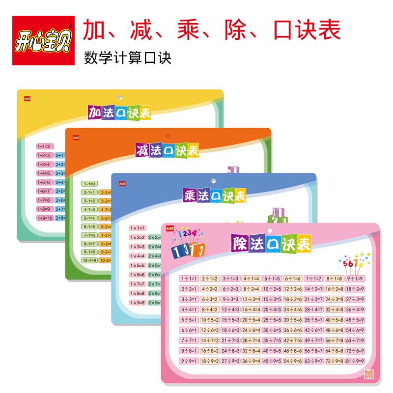 Happy Baby Primary School Pupils Addition Subtraction Nine-nine Multiplication Tips Table Children Learning Mathematics Enlightenment Early Education Wallchart