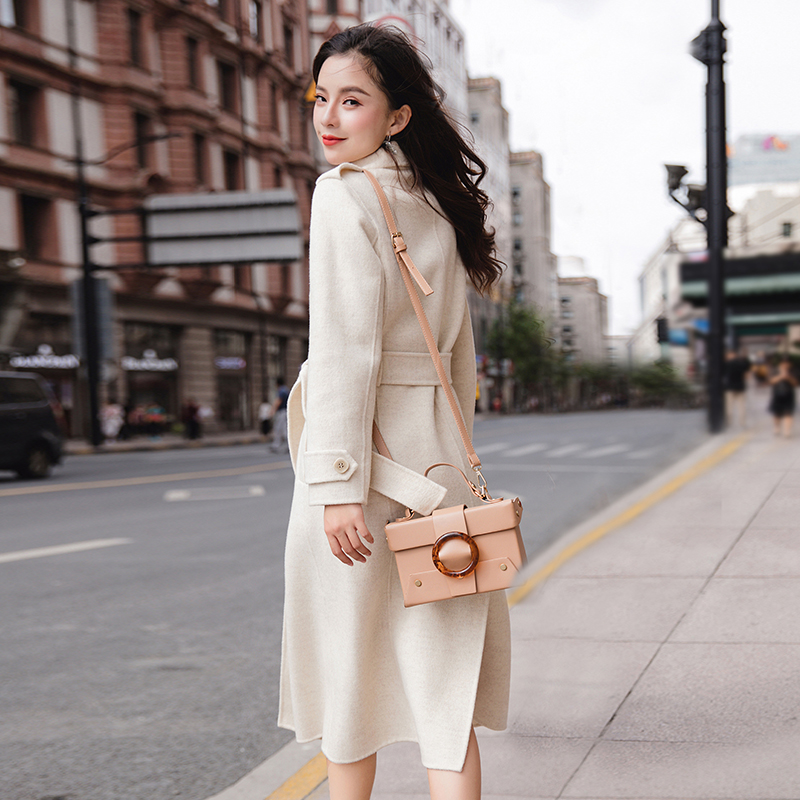Double-sided cashmere coat womens 2020 winter new Hepburn wind medium-length version over the knee high-end small hair coat
