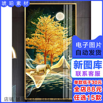 Modern Light Luxury Golden abstract forest Fu Lu fortune porch decorative painting three picture gallery material electronic painting core