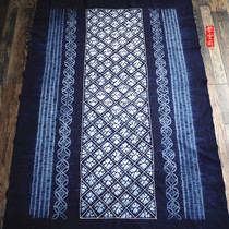 Yunnan Dali tie-dyed tablecloth Pure cotton cloth plant blue dyed rectangular ethnic style hanging decoration coffee table cloth 165×115cm