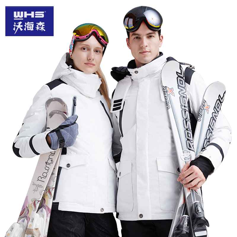 WHS Wahaysen Winter Female Skiing Suit, Wind-proof, Waterproof, Black-and-White Outdoor Fashion, Single-board and Double-board Cold Wave Mountaineering, 2019
