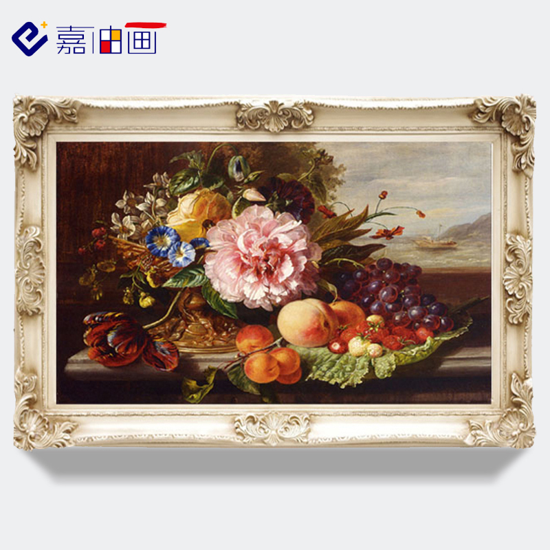 Restaurant Oil Painting Hand-painted Still Life Villa Fresco Grape Fruit Flower Vertical Hanging Painting High-grade European-style Passage Decoration Painting