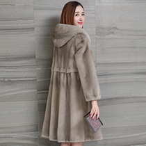Haining 2021 Winter new imported mink fur coat long fur mink coat womens whole Marten with hat