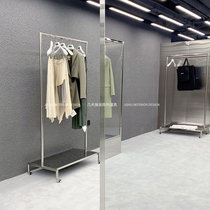 Womens clothing store Clothing store display shelf Floor-to-ceiling hanging clothes rack Silver Nakajima shelf display props with wheels
