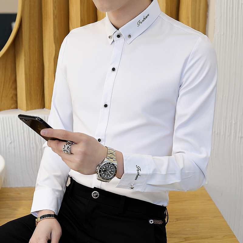 Autumn and winter high-end shirts men's long-sleeved Korean style self-cultivation trend handsome embroidery plus velvet high-end casual shirts for men
