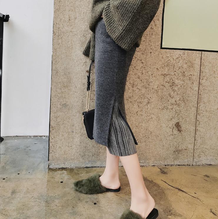 Wool skirt autumn winter step skirt medium long version knitted skirt trim thick fork high waist bag hip skirt