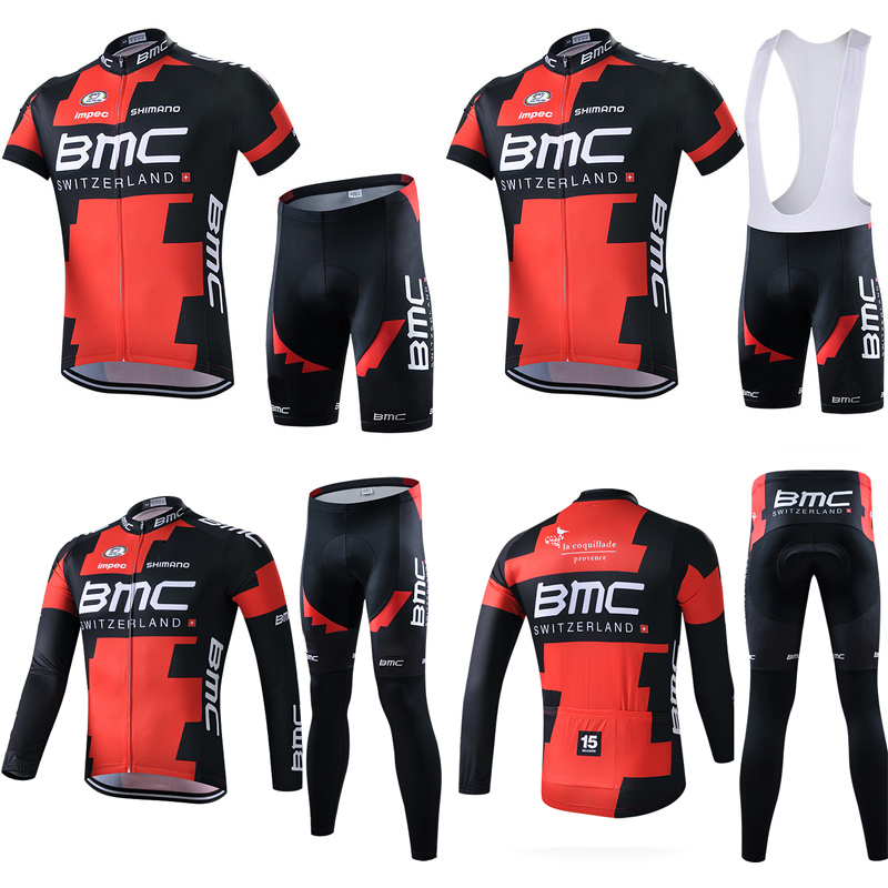 BMC Red and Black Cycling Apparel Long and Short Sleeve Back Belt for Men and Women's Team Trousers Sweat, Breath and Dry Summer Cycling Apparel