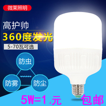 LED bulb household 5w18W40W60W ultra-bright lighting indoor E27 screw energy-saving bulb warm yellow and white light source