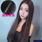 South Korean wig girls, Liu Haichang straight hair, black, fluffy, repair and waist long hair, lifelike whole head