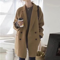 South Korea counter 2019 autumn and Winter new hair double-breasted coat long section loose wild suit collar coat female
