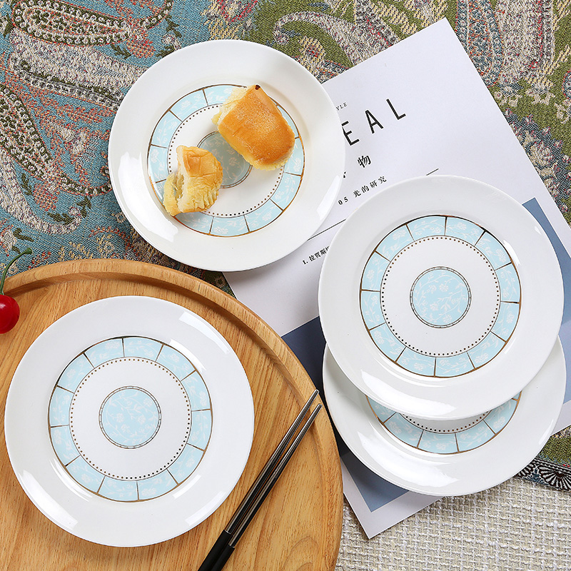 Bone Plate Set Household Vegetable Plate Jingdezhen Ceramic Small Plate European Simple 6-inch Bone Porcelain Plate 6 sets