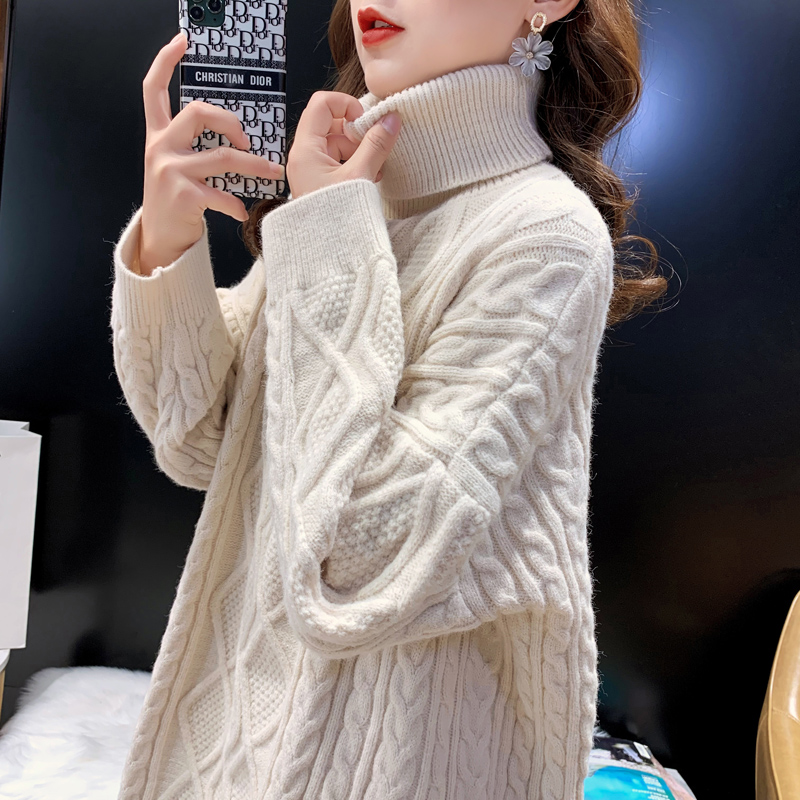 Lazy wind high-necked sweater women 2020 new autumn and winter set head hemp flower loose Korean version show thin and thick knitted top