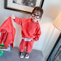 Девушки спортивный костюм чистый красный воздух 2020 весна и осень дети корейская версия досуг два набора женский ребенок три набора прилив