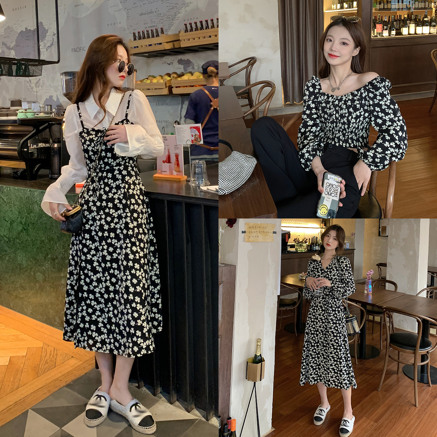 (Hu Chuliang Elf Valley) sling dress womens 2021 new spring and summer small French crushed flower skirt