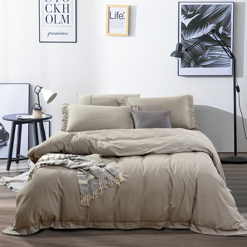 Fu Anna Home Textiles Saint Flower Brushed Four-piece Cotton Pure Cotton Sheet Duvet Cover Simple Plain Bedding