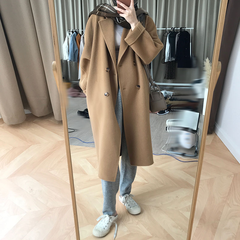 77store double-sided cashmere coat womens mid-length version of the 2020 autumn winter new high-end Hepburn wind wool coat