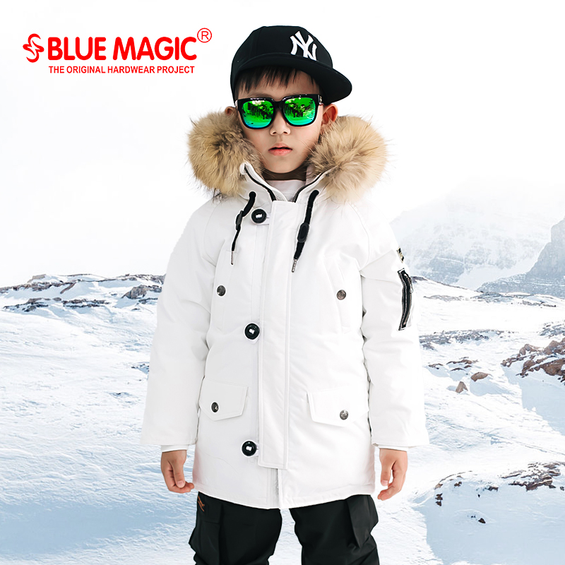 BlueMagic Children's Down Suit White Duck Down Skiing Suit Waterproof Winter Warm Down Skiing Equipment
