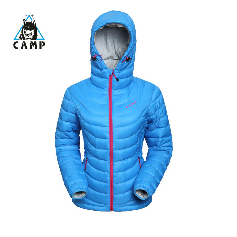 CAMP, down jacket, female, short, ultra light, warm outdoor, waterproof, windproof and breathable ski goose dress.