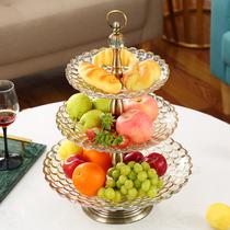 Европейский стеклянный двойной фруктовый лоток современный творческий американский фруктовый лоток главная гостиная журнальный столик украшения роскошный фруктовый горшок