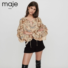 Maje2019 Autumn and Winter New Women's Clothes Lotus Leaf Paisley Printed Top MFPTO00244