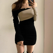 Amyway color matching stitching strapless sexy open collar dress heart-to-heart style socialite style bottom bag hip skirt