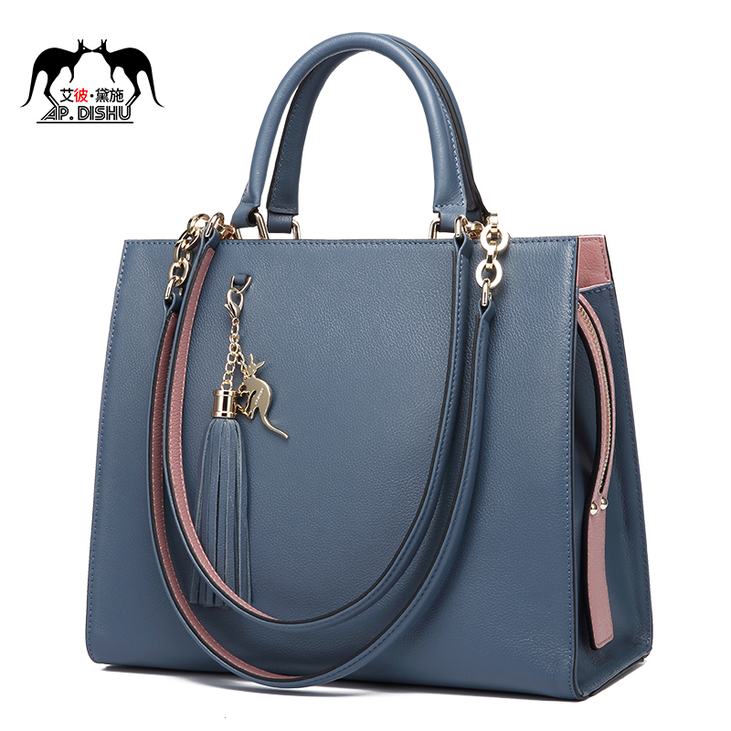 Bag female 2018 new top layer leather handbags shoulder bag 妃玳瑁 European and American fashion leather bag big bag