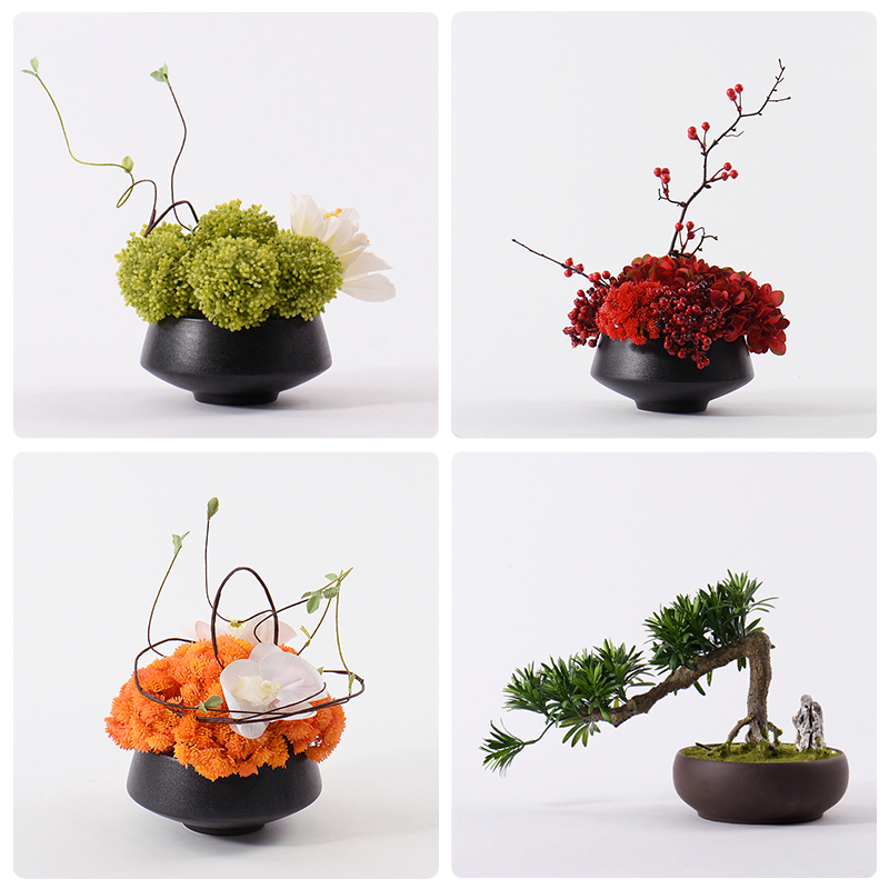 Indoor Simulated Flower Plants, Flowers, Potted Greening Pine Green False Flowers and Green Planting New Chinese Pine Bonsai Decoration