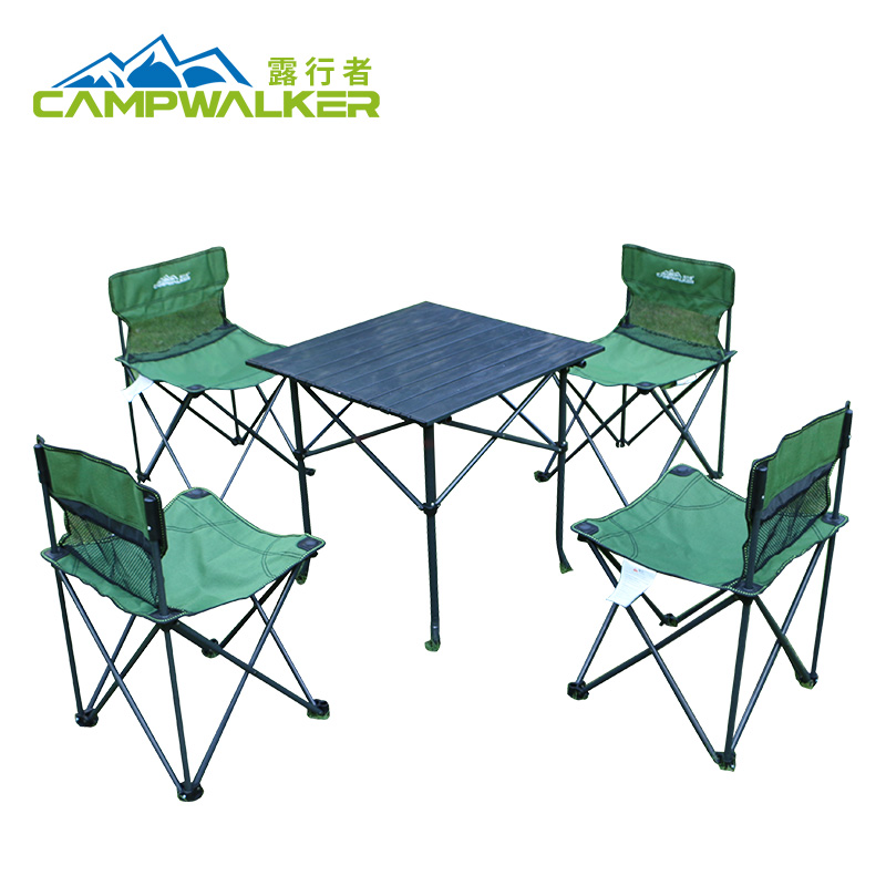 Excavator outdoor folding table and chair set Aluminum table and beach table and chairs Barbecue table and chair portable 4 chairs and 1 table