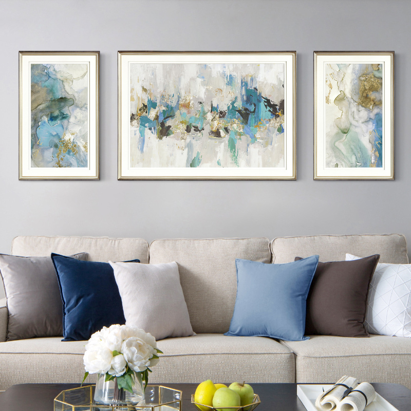 Modern American Blue Abstract Hanging Painting Living Room Sofa Background Wall Decoration Painting Brief and Luxurious Atmospheric Triple Painting