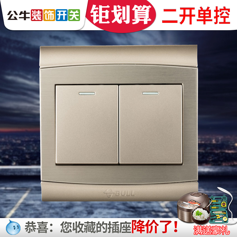 Bull Switch Socket Power Supply Double Open Single Connection Type 86 Wall Decoration Switch Household Two Open Single Control Switch Panel