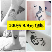 100 couples tattoo waterproof durable dark black and white lines painted personality and small fresh tattoo stickers