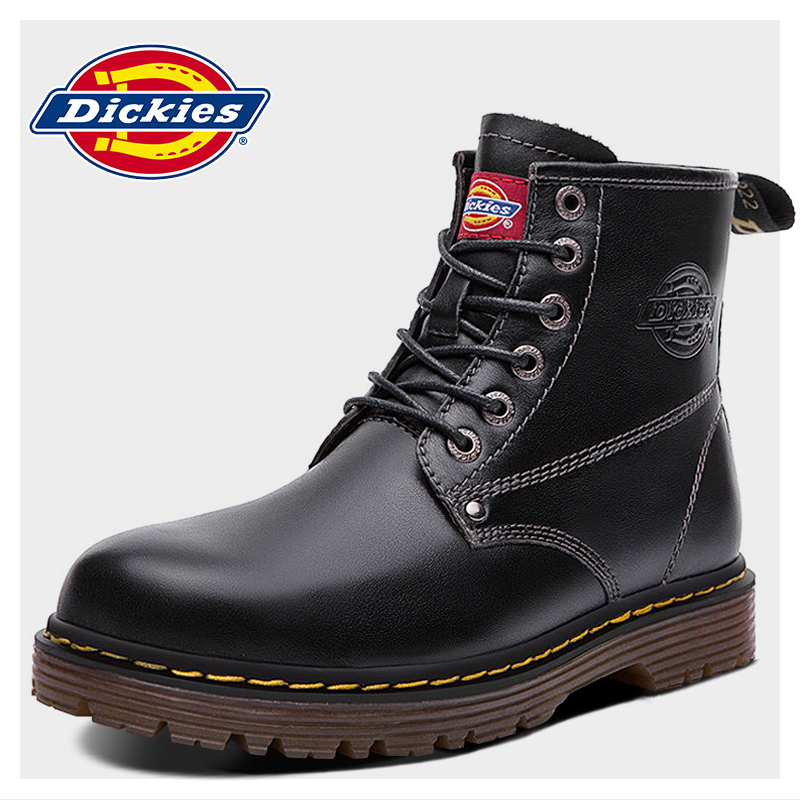 Dickies Martin boots men's spring new plush British leather tooling boots high top leather army boots men's shoes