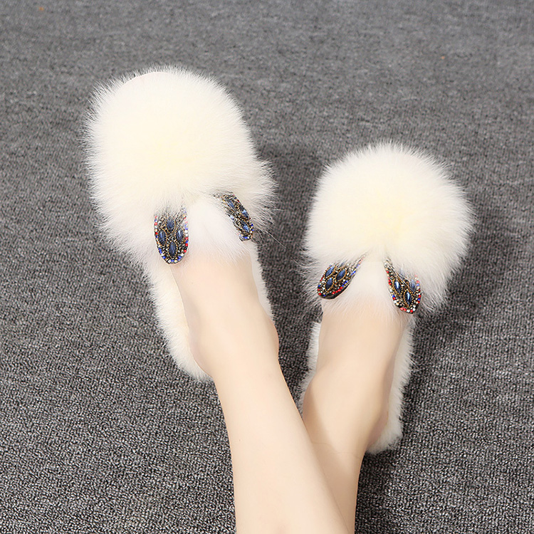Net Red Hair Slippers Women's 2019 New Fashion Hundred Sets Outside Wear Autumn Shoes, Bottom Slippers, Flat Bottom and Half Slippers