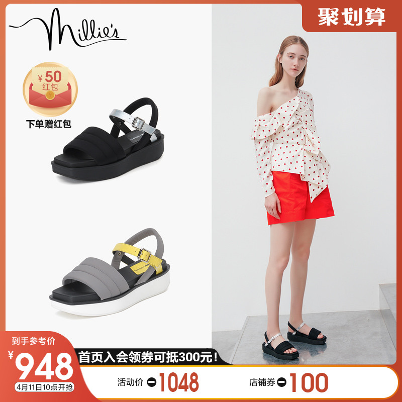 Millie's / Miaoli 2020 summer new one word with Rome leisure thick bottom women's sports sandal lwi03bl0